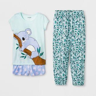 Girls Koala Print 3pc Pajama Set - Cat & Jack™ Light Green L