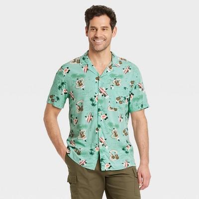 Men's Printed Standard Fit Short Sleeve Button-Down Camp Shirt - Goodfellow & Co™ Green