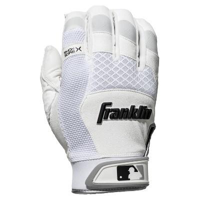Franklin Sports Shok-Sorb X Batting Gloves - White/White - Adult Medium