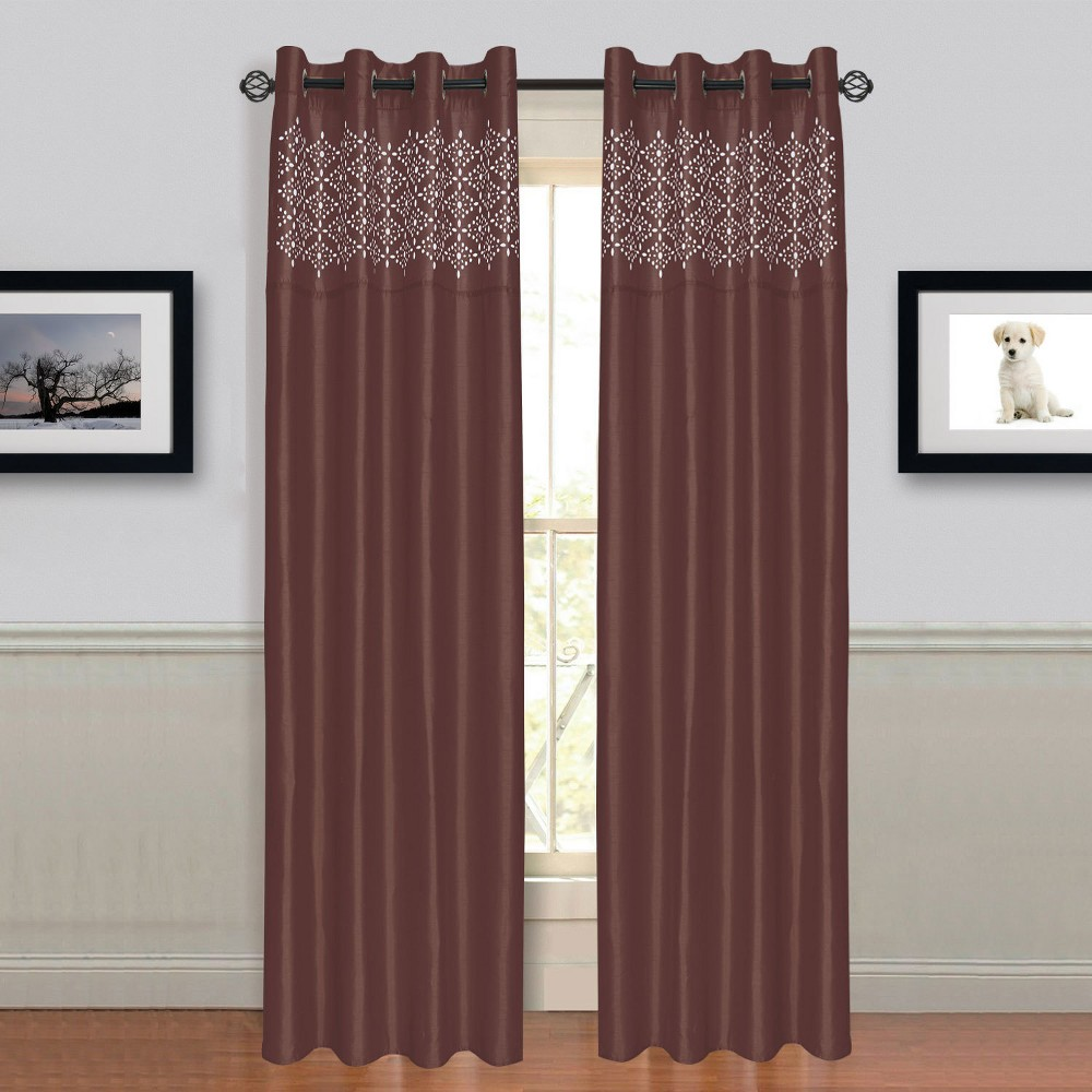 "Image of ""54""""x84"""" Alla Grommet Curtain Panel Brown - Trademark Global"""