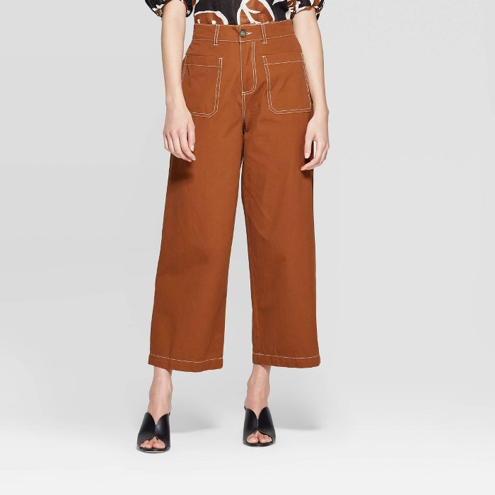 Women's Wide Straight Leg Ankle Length Pants - Who What Wear™ Brown - image 1 of 3