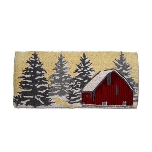 tag Winter Sketch Barn Estate Coir Mat Renewable Coconut Fiber Doormat Christmas Xmas Holiday - image 1 of 2