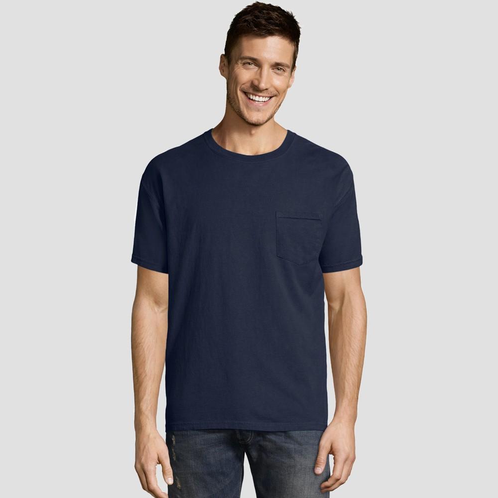 Hanes Men S Short Sleeve 1901 Garment Dyed Pocket T Shirt Navy M
