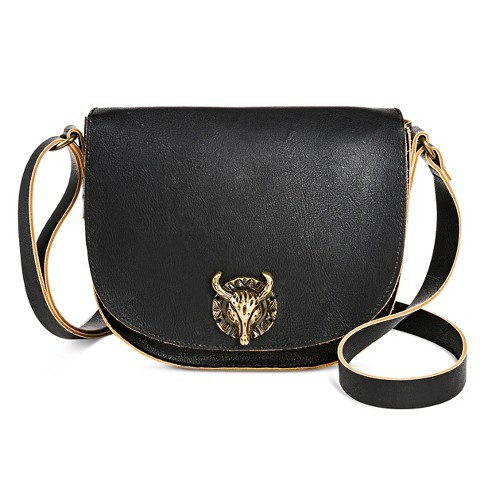 T-Shirt & Jeans Women's Faux Leather Crossbody Handbag with Flap Closure and Bull Hardware - Black - image 1 of 3