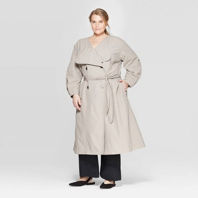 Women's Plus Size Long Sleeve Front Button Down Trench Coat   Prologue Gray by Down Trench Coat