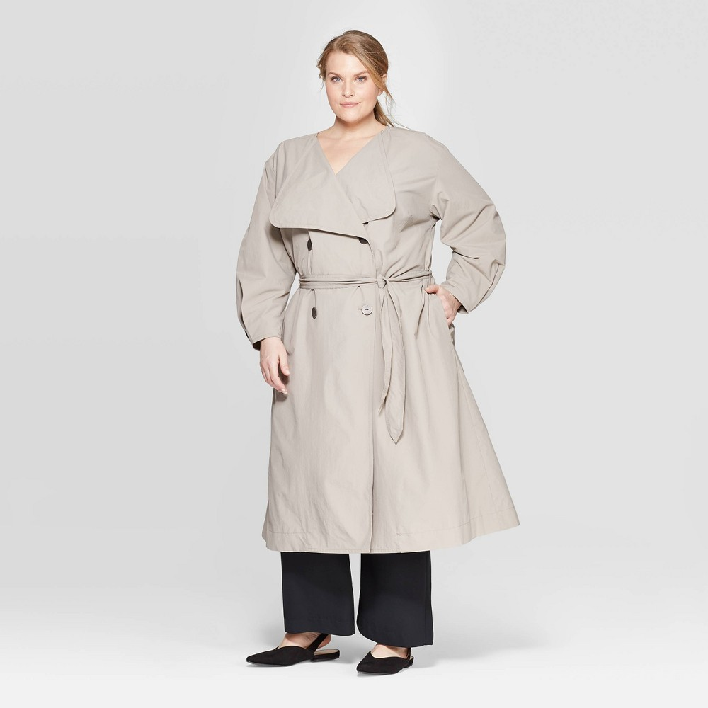 Women's Plus Size Long Sleeve Front Button-Down Trench Coat - Prologue Gray 3X