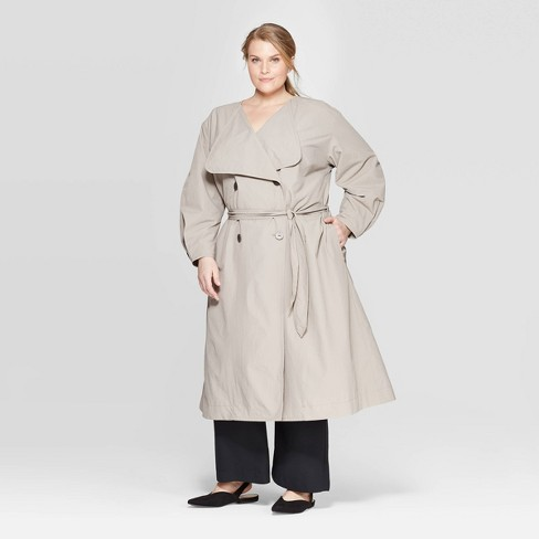 a6665dd32b9 Women s Plus Size Long Sleeve Front Button-Down Trench Coat - Prologue™ Gray