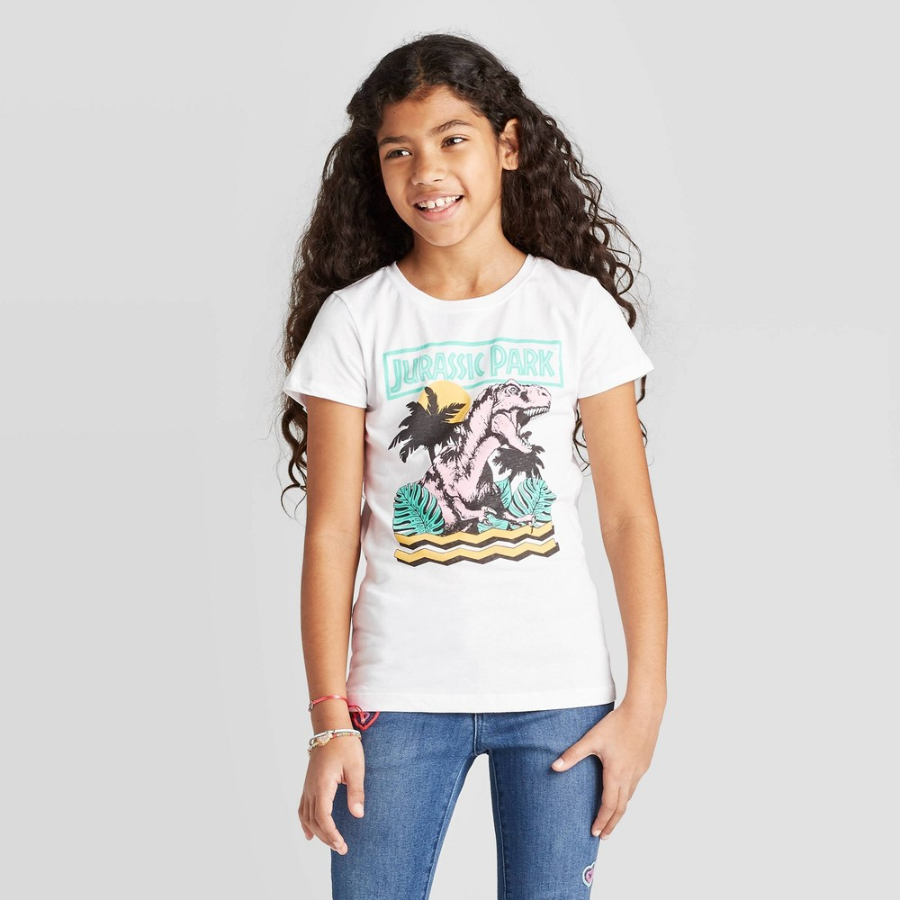 Image of Girls' Jurassic Park T-Shirt - White, Girl's, Size: XS