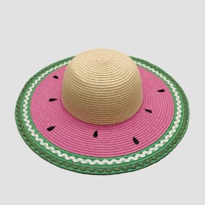 Baby Girls' Watermelon Floppy Hat - Cat & Jack™ Green/Beige/Pink 12-24M