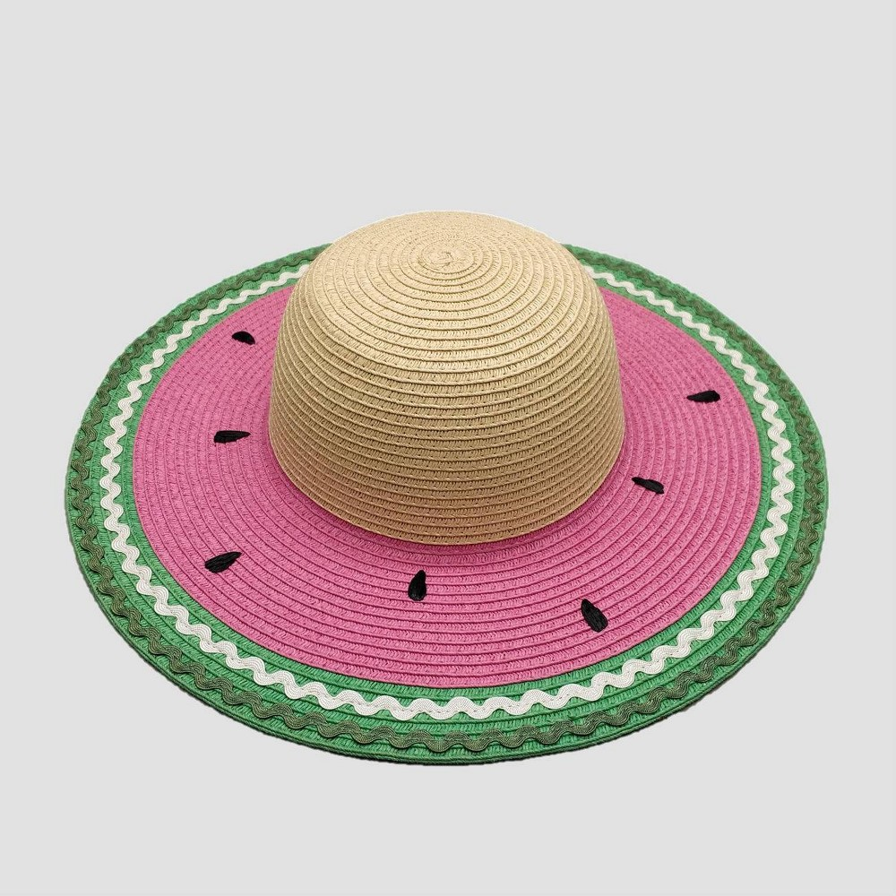 Image of Baby Girls' Watermelon Floppy Hat - Cat & Jack Green/Beige/Pink 12-24M, Toddler Girl's, MultiColored