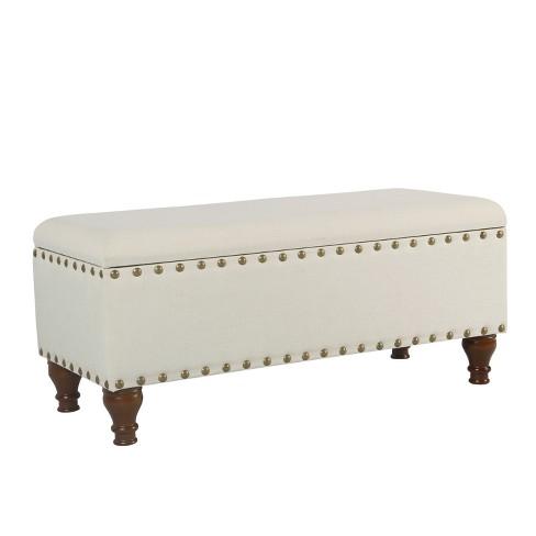 Fine Large Storage Bench With Nailhead Trim Homepop Theyellowbook Wood Chair Design Ideas Theyellowbookinfo