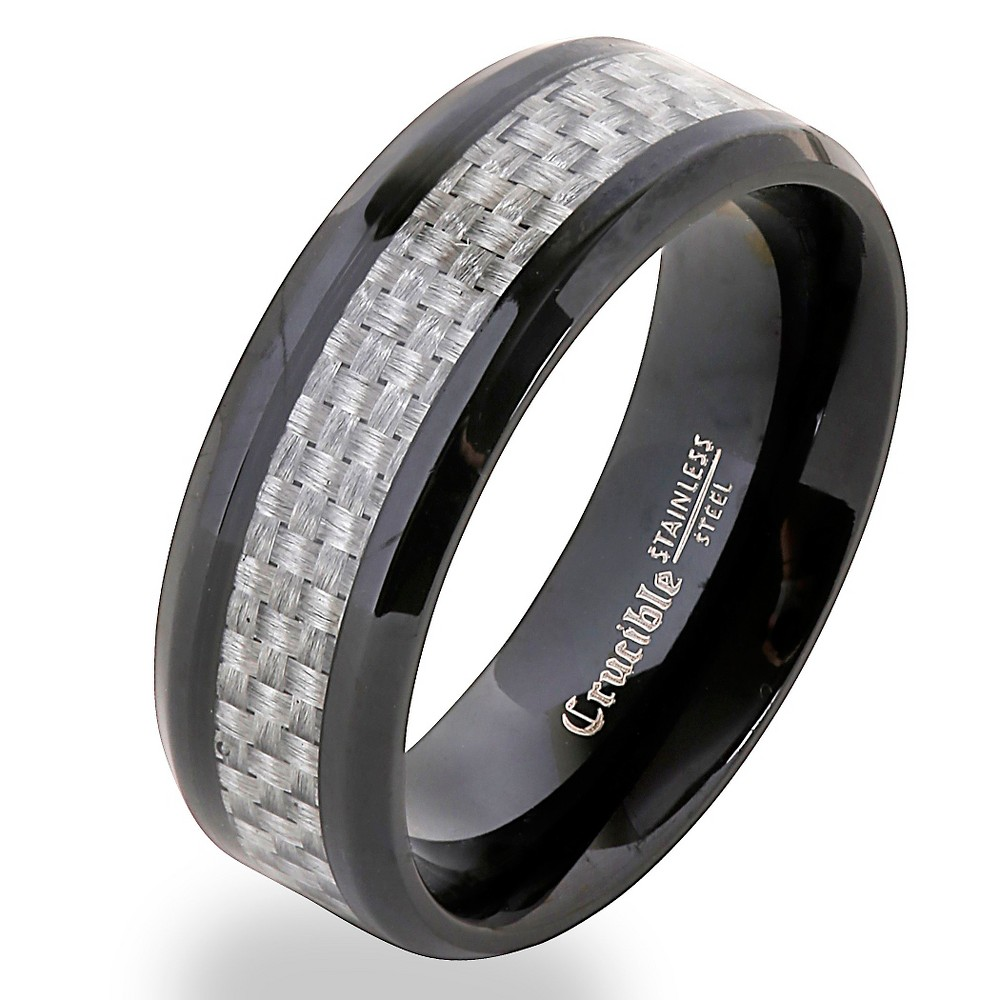 Image of Men's Crucible Blackplated Stainless Steel Gray Carbon Fiber Band Ring (10), Black Gray