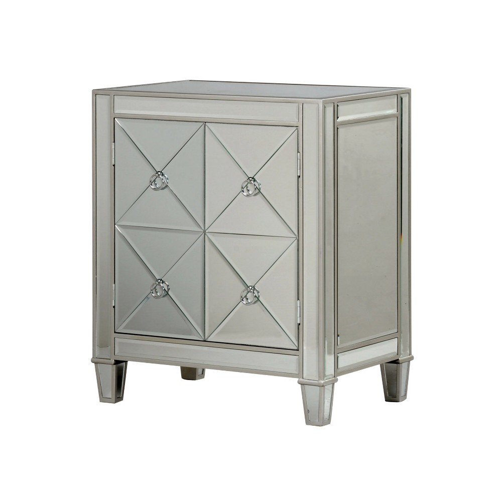 2 Door Beveled Mirror Cabinet Silver - Stylecraft