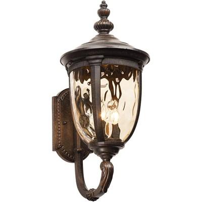"John Timberland Outdoor Wall Light Fixture Bronze 21"" Hammered Glass Sconce for House Deck Patio"