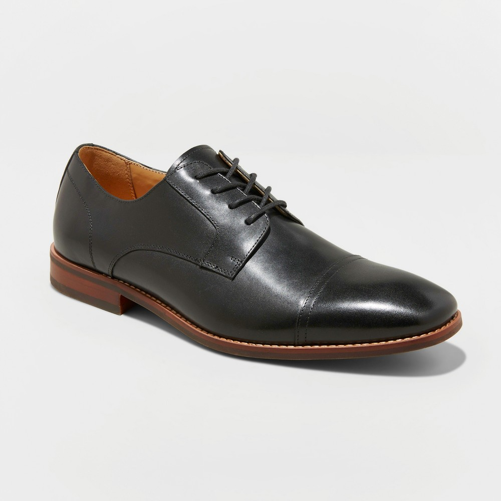 Image of Men's Brandt Leather Cap Toe Oxford Dress Shoes - Goodfellow & Co Black 10.5