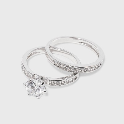 Cubic Zirconia Engagement Ring - Silver
