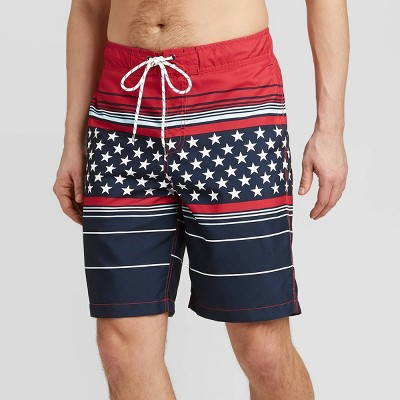 "Men's 9"" Americana Elastic Waist Swim Trunks - Goodfellow & Co™ Dark Blue"