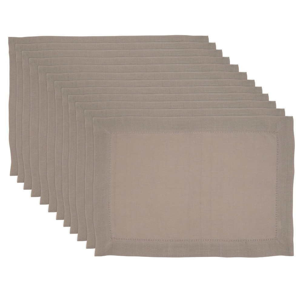 Image of 12pk Polyester Hemstitch Border Placemats - Saro Lifestyle