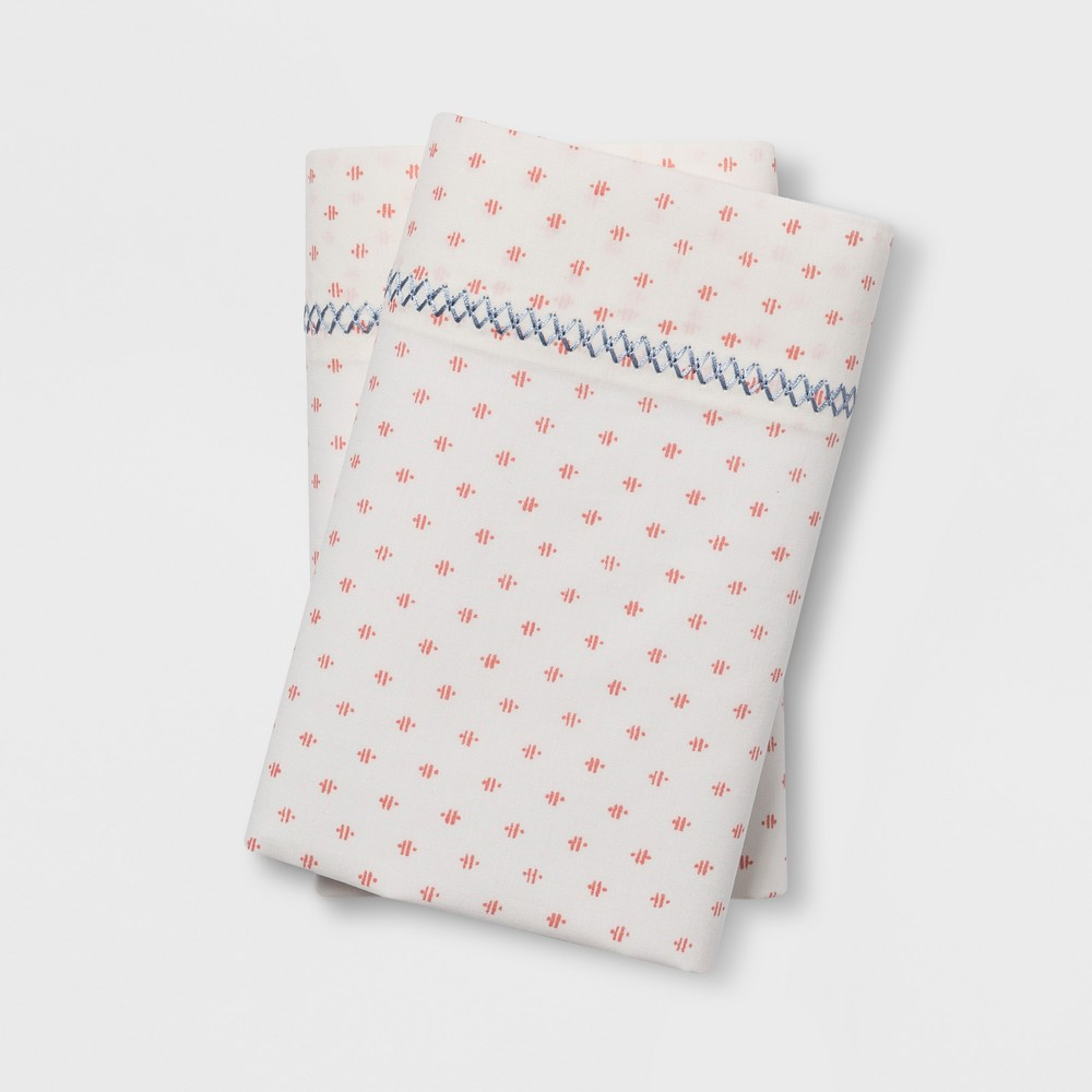 Print Percale Cotton Pillowcases (King) Coral (Pink) - Opalhouse