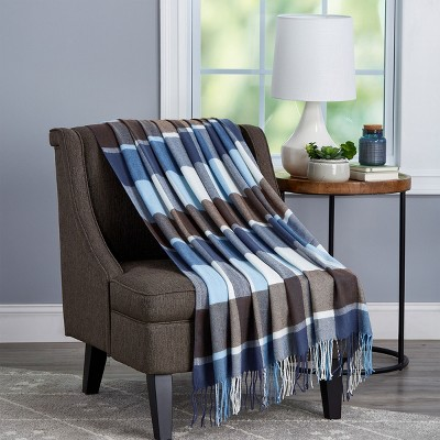 Soft Throw Blanket - Oversized, Luxuriously Fluffy, Vintage-Look and Cashmere-Like Woven Acrylic - Breathable Throws by Hastings Home (Allure Plaid)