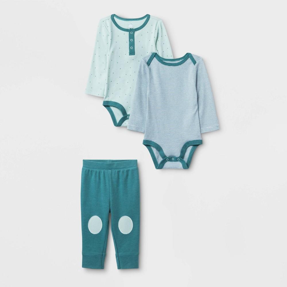 Image of Baby Boys' 3pc Boutique Layette Set - Cloud Island Blue 0-3M, Kids Unisex, Blue/Blue
