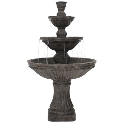 "Sunnydaze 55""H Electric Polystone Classic Style 3-Tier Designer Outdoor Water Fountain, Dark Brown"