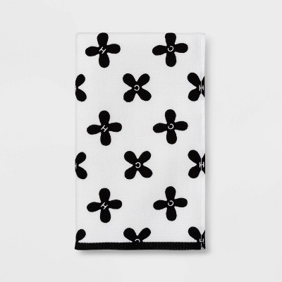Hot Cold Flat Woven Hand Towel White/Black - Room Essentials™