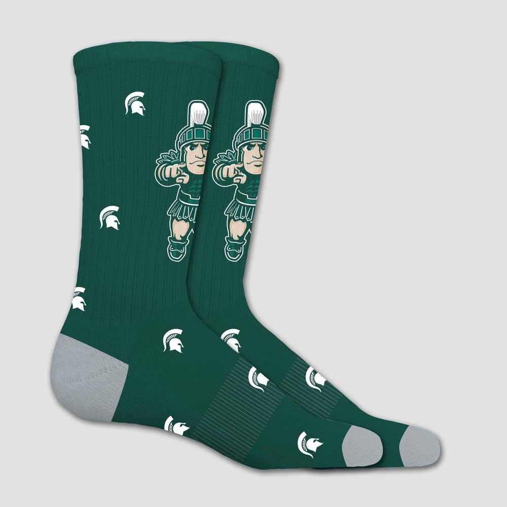NCAA Michigan State Spartans Sock Madness Crew 10-13, Adult Unisex