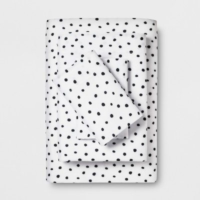Microfiber Printed Sheet Set (Full)Black Dot - Room Essentials™