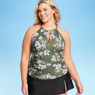 Women's Plus Size High Neck Tankini Top - Kona Sol™ Dark Green 16W