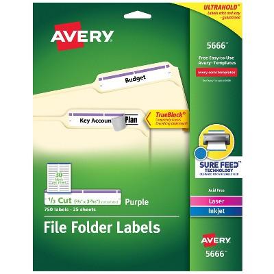 """Avery Laser/Inkjet File Folder Labels 2/3"""" x 3 7/16"""" Purple 462666"""