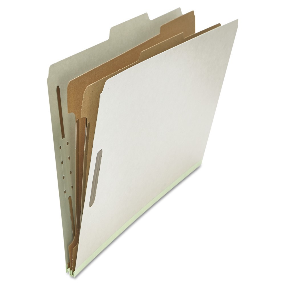 Universal Pressboard Classification Folder, Legal, Six-Section, Gray, 10/Box