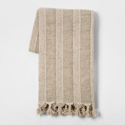Washed Cotton Linen Stripe Throw Blanket Neutral - Threshold™