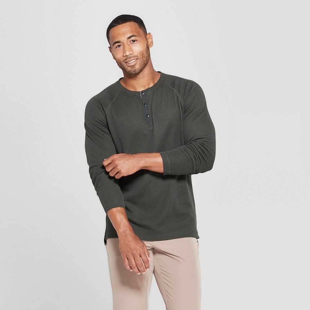 Image of MPG Sport Men's Long Sleeve Henley - Leaf Green L, Size: Large