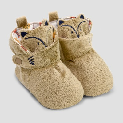 Baby Boys' Fox Bootie Slippers with Snap - Cat & Jack™ Brown 3-6M