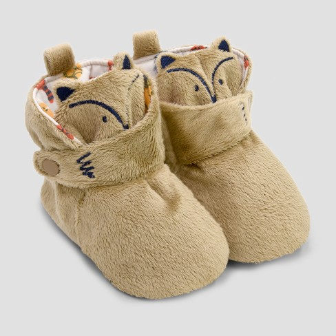 Baby Boys' Fox Bootie Slippers with Snap - Cat & Jack™ Brown - image 1 of 1