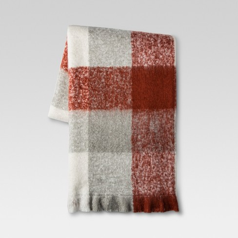 Plaid Faux Mohair Throw Blanket - Threshold™ - image 1 of 1