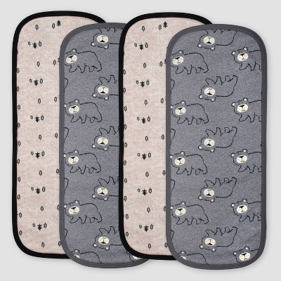 Gerber Baby Boys'4pk Bear Burpcloths - Gray/Light Brown