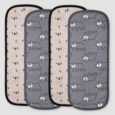 Gerber Baby Boys'4pk Bear Burpcloths - Gray/Light Brown - image 1 of 3