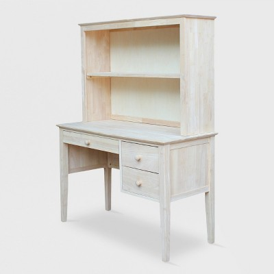 Brooklyn Desk with Hutch Unfinished - International Concepts