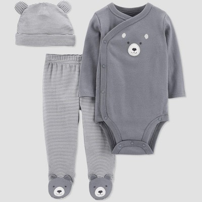 Baby Boys' 3pc Bear Stripe Top & Bottom Set - Just One You® made by carter's Gray 9M