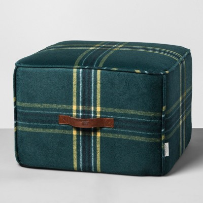 Ottoman Pouf Plaid - Blue - Hearth & Hand™ with Magnolia