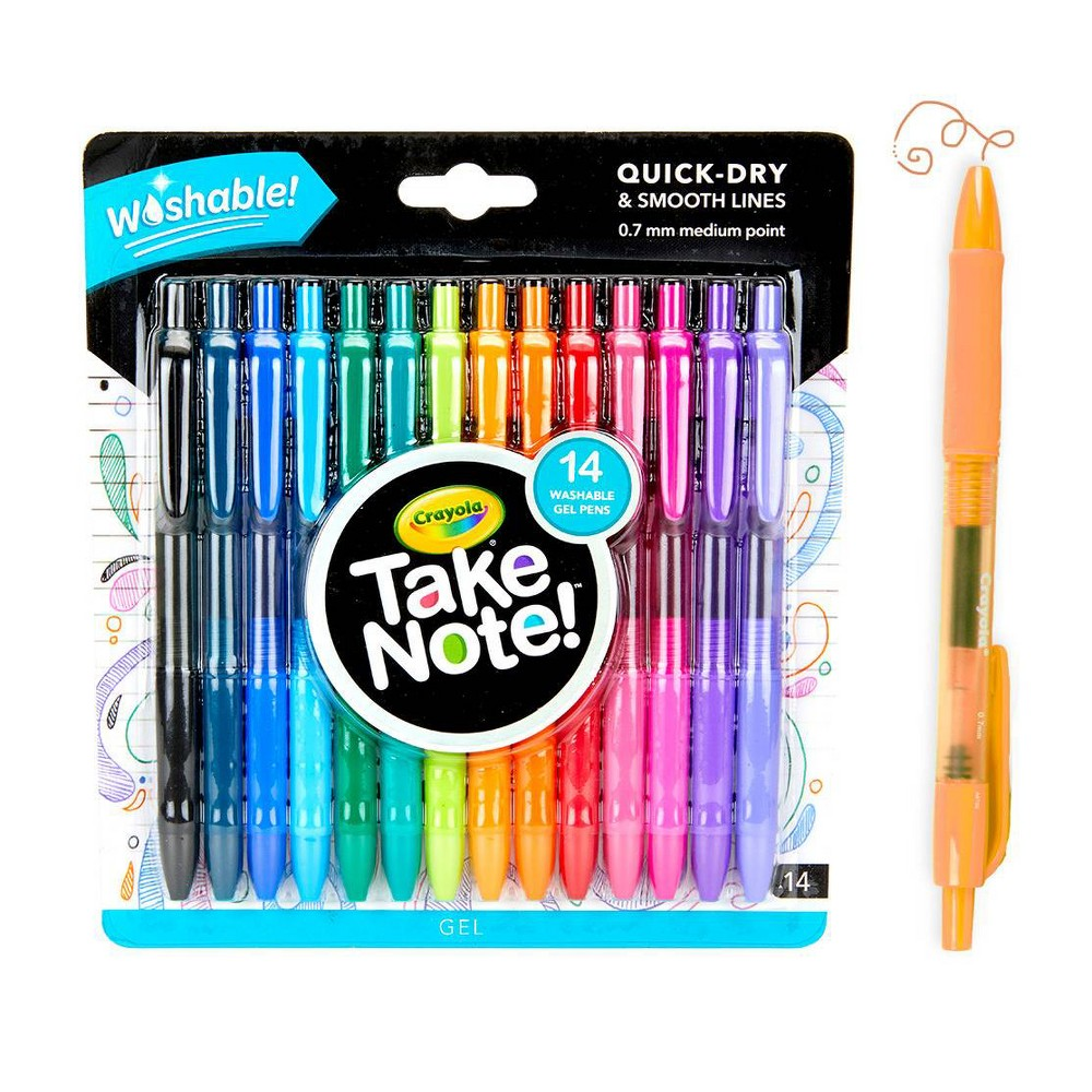 Crayola Take Note! 14pk Washable Gel Pens, Multi-Colored