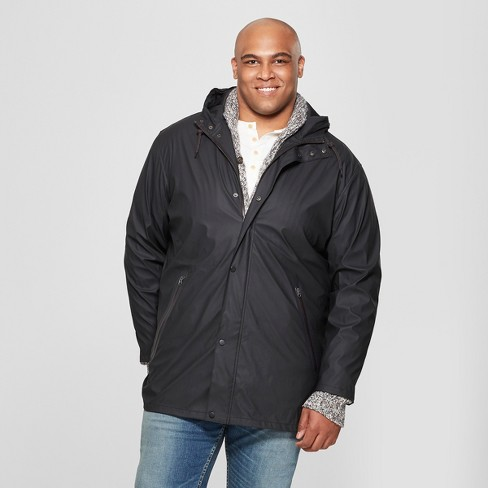 Men's Big & Tall Rubber Rain Jacket - Goodfellow & Co™ Black - image 1 of 2