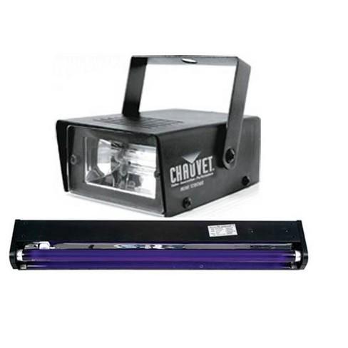 "AMERICAN DJ BLACK-24BLB 24"" UV Black Pro Blacklight + CHAUVET Mini Strobe Light - image 1 of 4"
