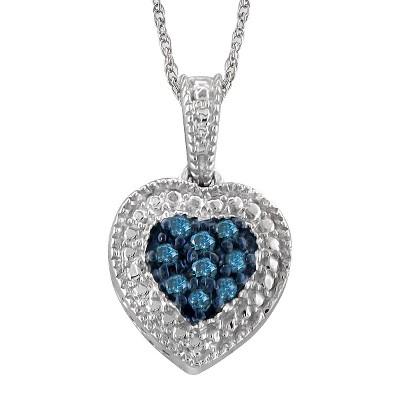 """Women's 1/10 CT. T.W. Round-Cut Diamond Heart Pendant in Sterling Silver(18"""")"""