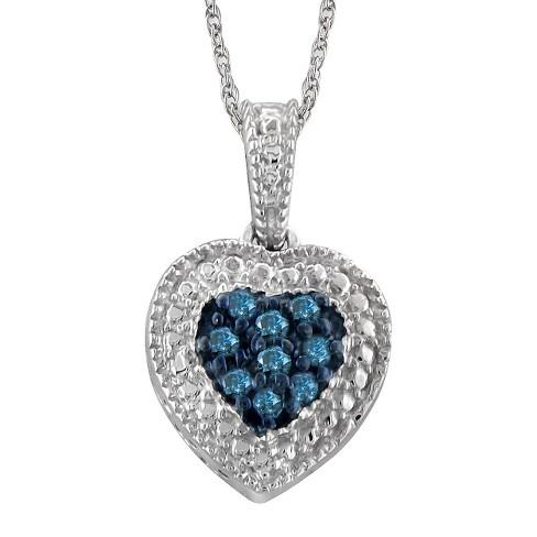 07bdd7441955 Women s 1 10 CT. T.W. Round-Cut Diamond Heart Pendant in Sterling Silver (18