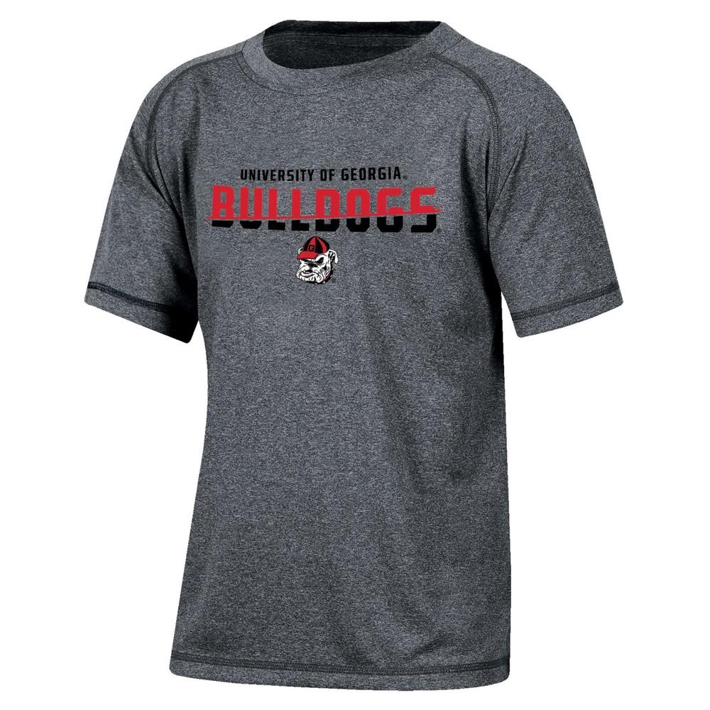 Georgia Bulldogs Boys Short Sleeve Crew Neck Raglan Performance T-Shirt - Gray Heather M, Multicolored