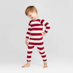 Burt's Bees Baby® Toddler Rugby Peace Striped Pajama Set - Red