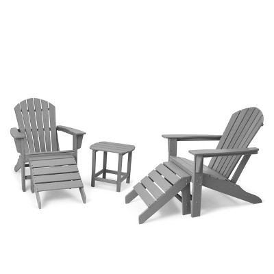 5pk Plastic Resin Adirondack Chair with Side Table & Ottoman - Gray - EDYO LIVING